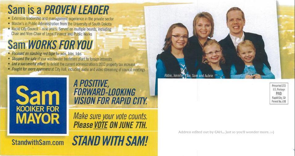 Sam Kooiker campaign flyer, Rapid City, SD June 2011