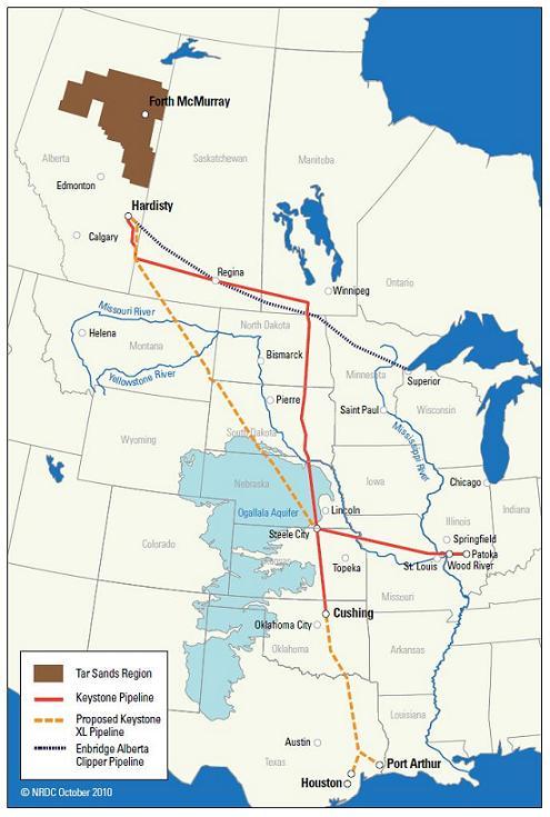 Map: Keystone I and Keystone XL tar sands oil pipelines, Ogallala aquifer