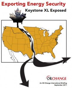 "Cover of ""Exporting Energy Security"" 2011 report from Oil Change International"