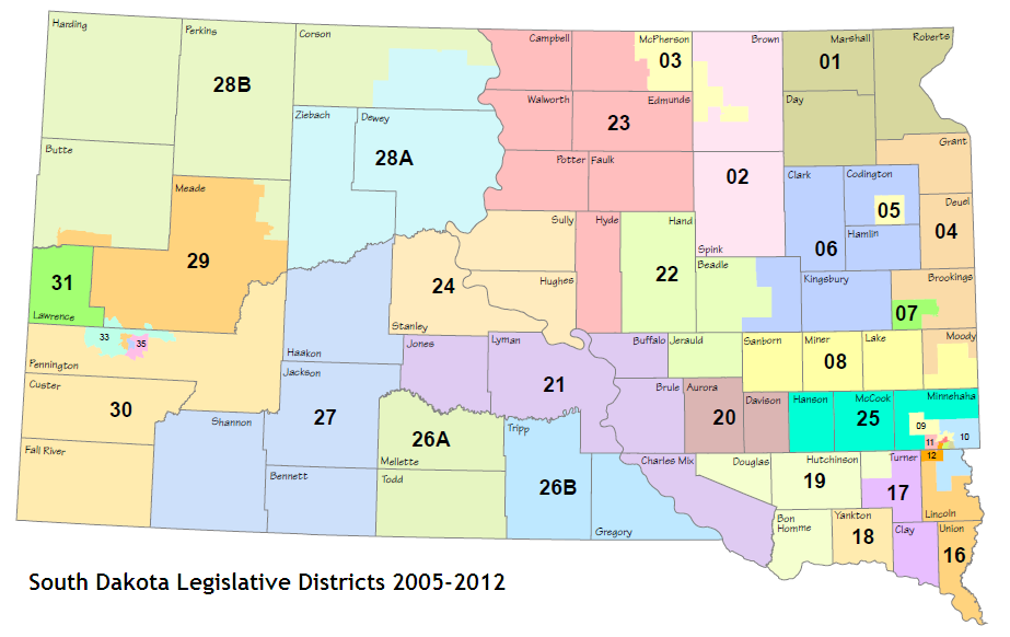 South Dakota Legislative Districts, 2005-2012