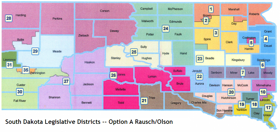"""South Dakota Legislature proposed districts, """"Option A"""" from Rep. Val Rausch and Sen. Russell Olson, September 2011"""