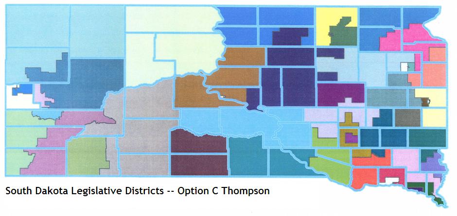 South Dakota Legislature proposed redistricting, Option C from Bill Thompson, September 2011