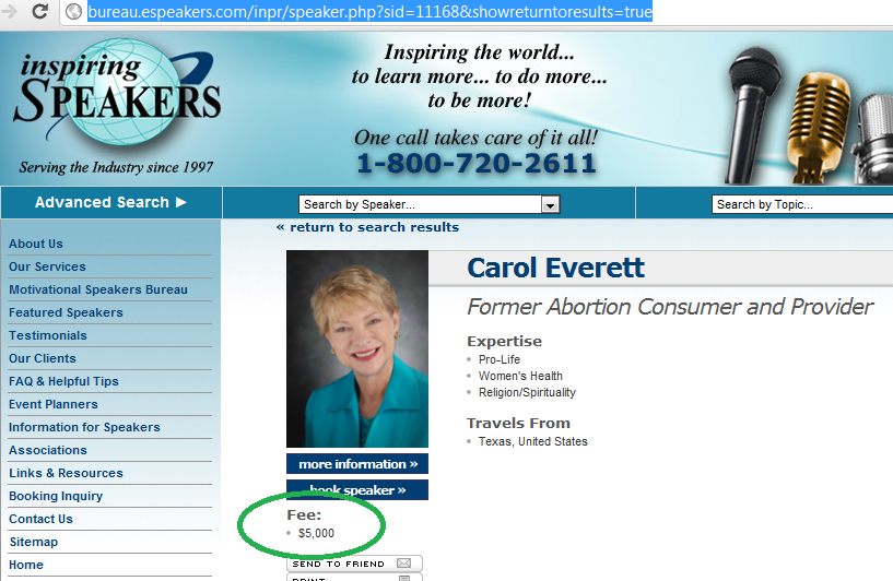 Inspiring Speakers website screen cap showing Carol Everett speaking fee of $5000