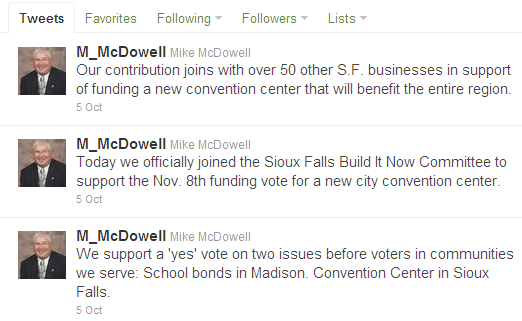 Mike McDowell supports SF Events Center -- Twitter, October 5