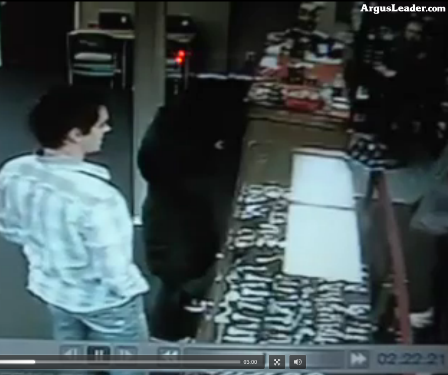 Clip from Roll with It tobacco shop surveillance video, Sioux Falls, SD, 2012.02.12, posted by Argus Leader