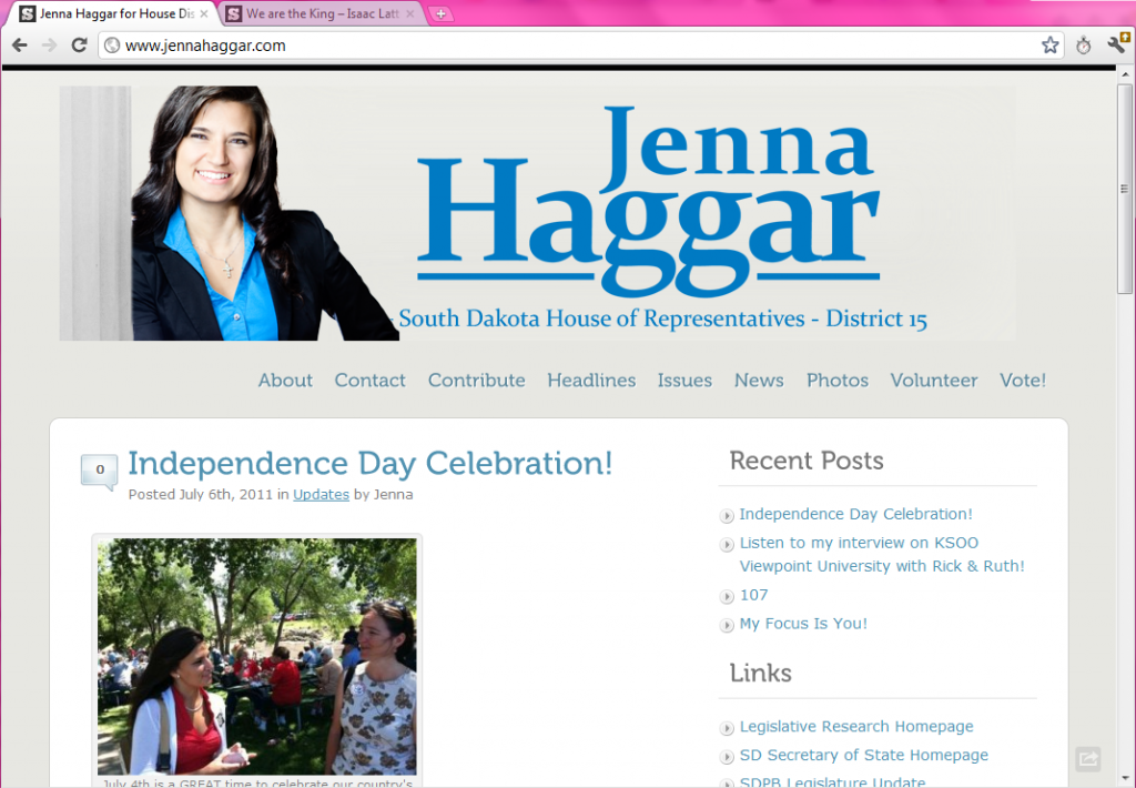 Jenna Haggar website homepage -- screen cap 2012.02.20