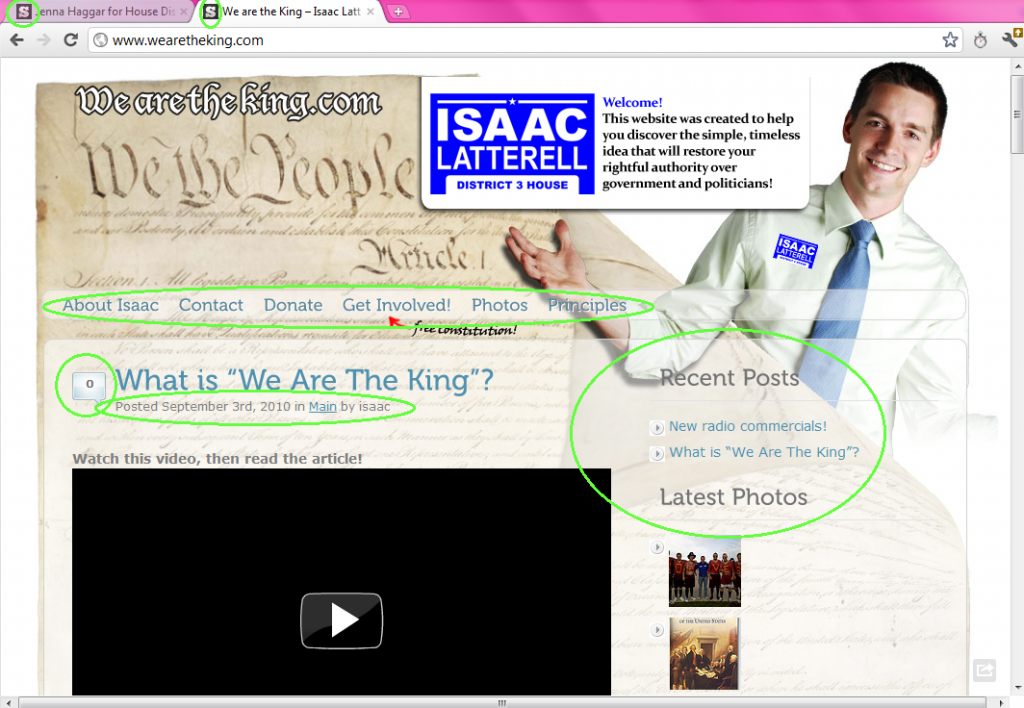Isaac Latterell website homepage -- screen cap 2012.02.20