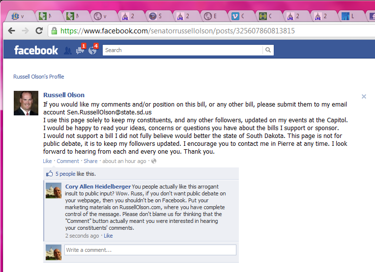 Senator Russell Olson tells the public not to discuss issues on his public Facebook page.