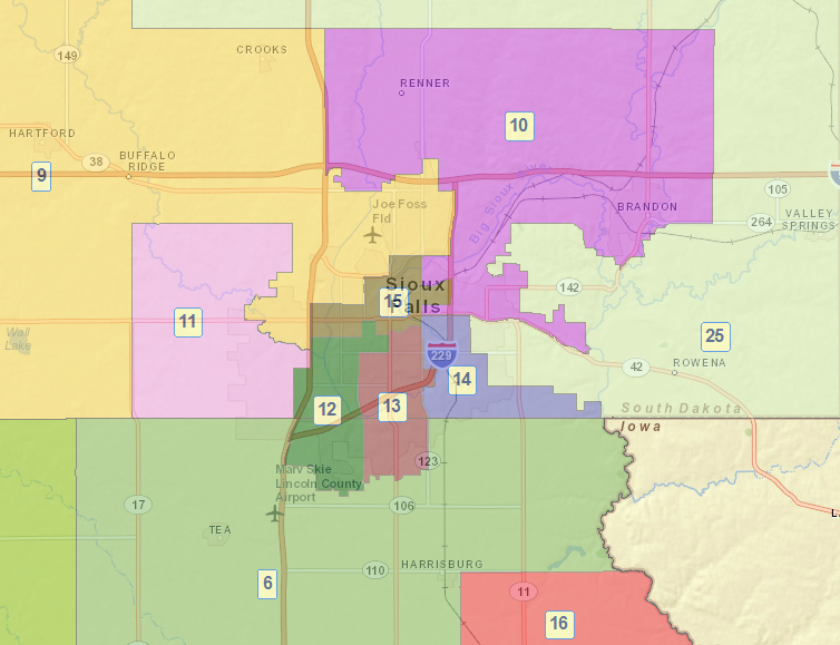 South Dakota Legislative Districts, Sioux Falls area, 2012