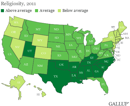 Gallup Religiosity by State 2011 - map