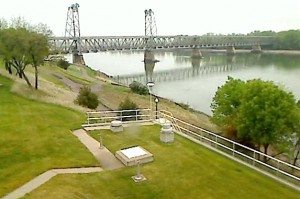 Meridian Bridge, Yankton, South Dakota, April 15, 2012, municipal webcam shot