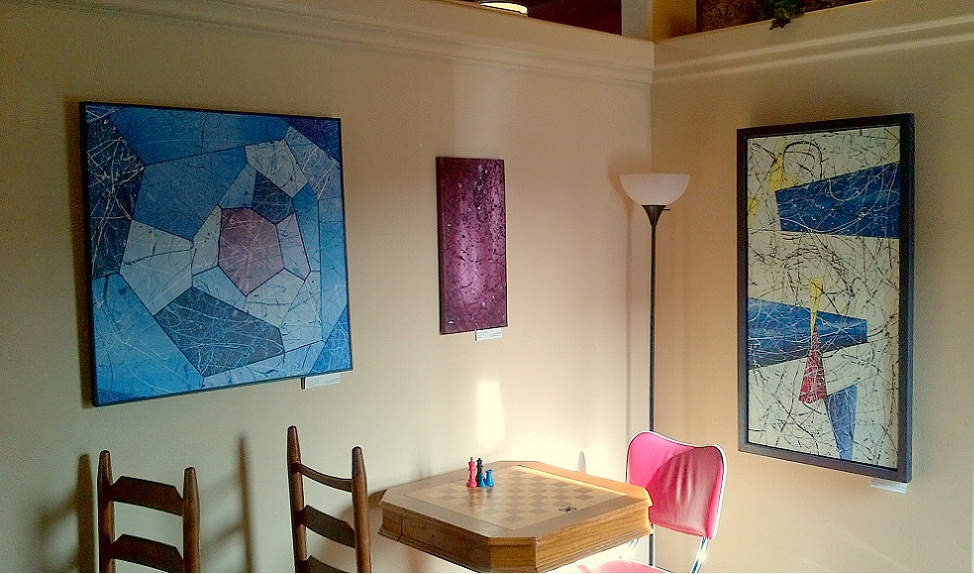 (L to R): Polar Gem (2006), Near Witness (2012), Trinity 47 (2005), on display at Common Grounds, Spearfish, South Dakota, April 2012