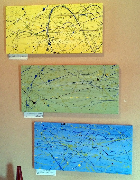 Cory's newest paintings, a spring triptych, on display at Common Grounds, Spearfish, South Dakota, April 2012