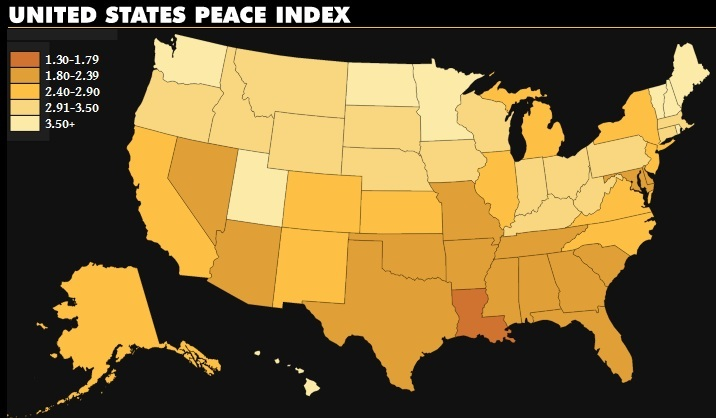United States Peace Index 2010, issued April 24, 2012, by Institute for Economics and Peace, http://www.visionofhumanity.org/uspeaceindex/