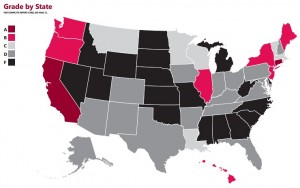 NPWF map of state scores on family-friendly policy 2012