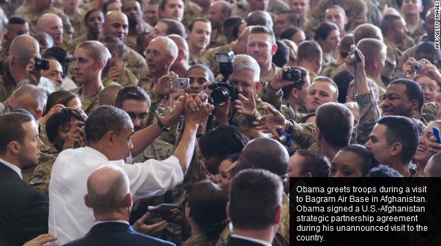 President Barack Obama visits U.S. soldiers at Bagram Air Base, Afghanistan, May 2, 2012