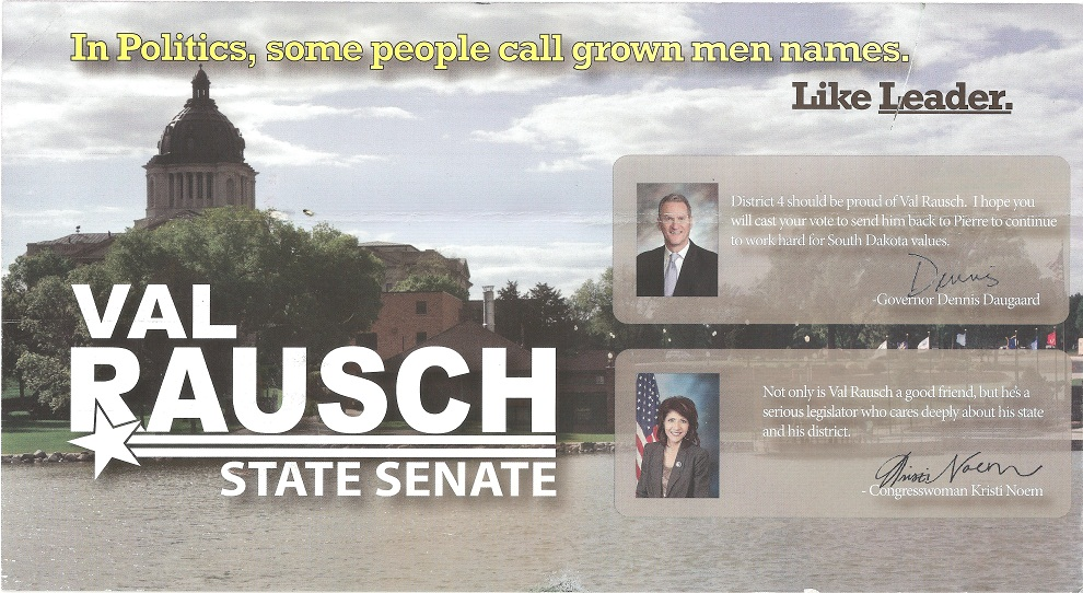 Kristi Noem's failed endorsement of Val Rausch in June 2012 GOP District 4 Senate primary