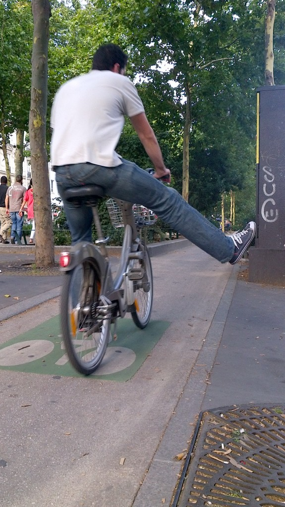 Cyclist on Boulevard de Rochechouart