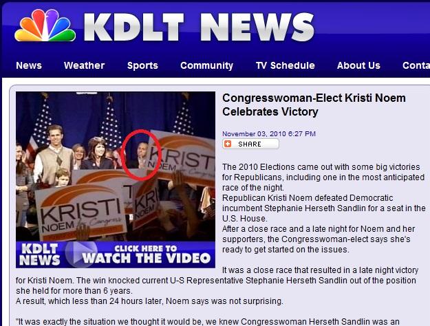 KDLT screen cap showing Matt McCaulley at Kristi Noem's victory speech, Sioux Falls, South Dakota, November 2, 2012