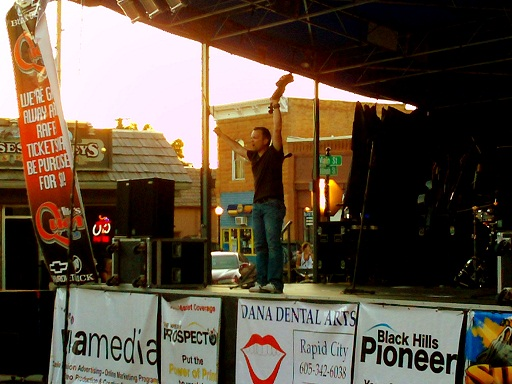 32 Below fiddler at Downtown Friday Night, Spearfish, South Dakota, August 17, 2012
