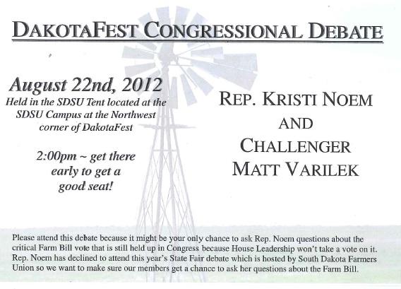 South Dakota Farmers Union postcard to members encouraging attendance at DakotaFest debate between Rep. Kristi Noem and Matt Varilek, August 2012