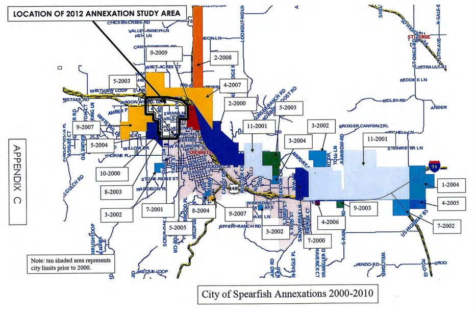 Spearfish City Limits, annexations from 2000 to 2010, and 2012 annexation study area