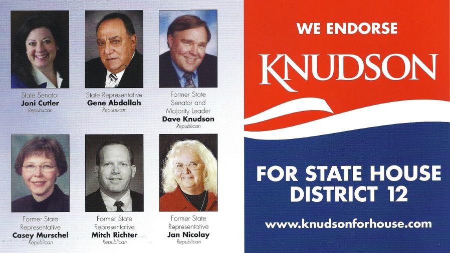 Knudson for State House District 12 flyer, endorsements from six South Dakota Republicans, October 2012