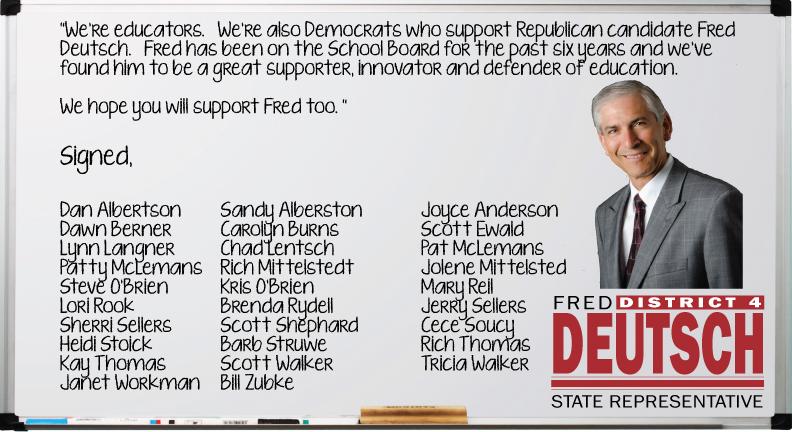 Fred Deutsch District 4 House campaign postcard, 2012