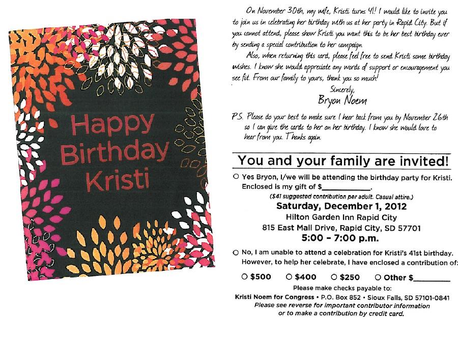 Kristi Noem 41st birthday Rapid City fundraiser invitation, 2012.12.01