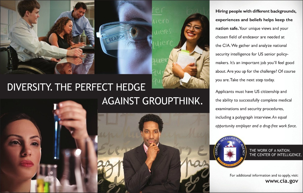 """CIA ad: """"Diversity. The perfect hedge against groupthink."""""""