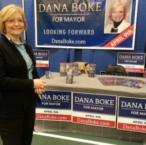 Dana Boke campaigns at the Spearfish Home Show Saturday, March 2, 2013. Photo from Dana Boke for Mayor Facebook page.