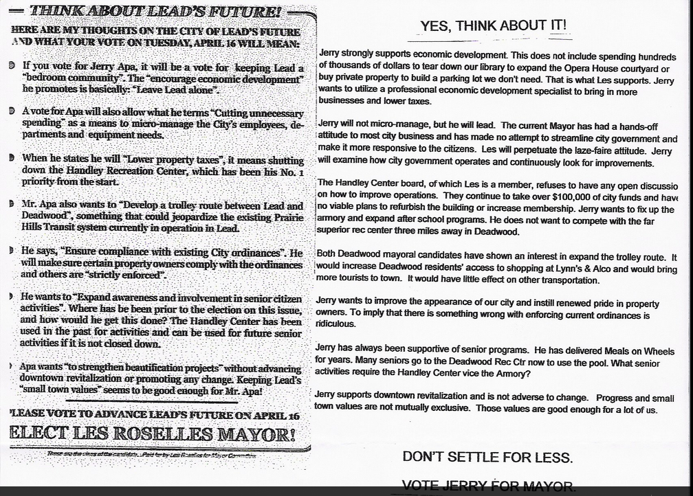 "Competing campaign materials from Lead mayor candidates Les Roselles and Jerry Apa, posted to ""Lead Soapbox"" Facebook page 2013.04.15"