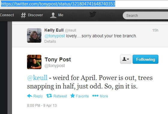 Tony Post likes gin: Twitter screen cap 2013.04.10. 10:35 MDT