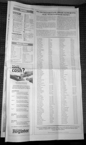 Photo of 2/3 page ad calling on South Dakota Legislature to reverse its decision to spend tax dollars on ALEC dues and travel expenses, Brookings Register, 2013.05.22