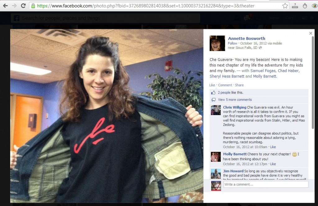 Dr. Annette Bosworth flaunts her Che Guevara t-shirt, Facebook, October 16, 2012.