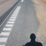 Just me and my shadow on Highway 18, heading east