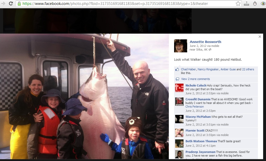 Annette Bosworth, husband Chad Haber, their sons, and a 180-pound halibut, on a fishing trip near Sitka Alaska, June 2, 2012. Photo posted publicly on Annette Bosworth's Facebook page.