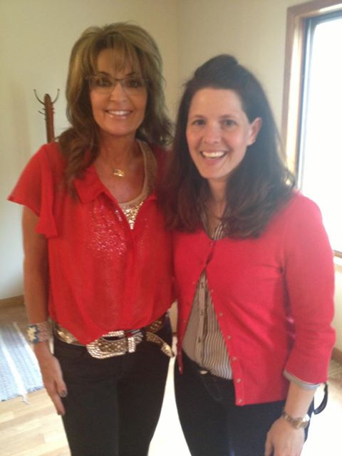 Sarah Palin and Annette Bosworth, Baltic, South Dakota, 2013.07.25. Photo posted to Facebook by Annette Bosworth.