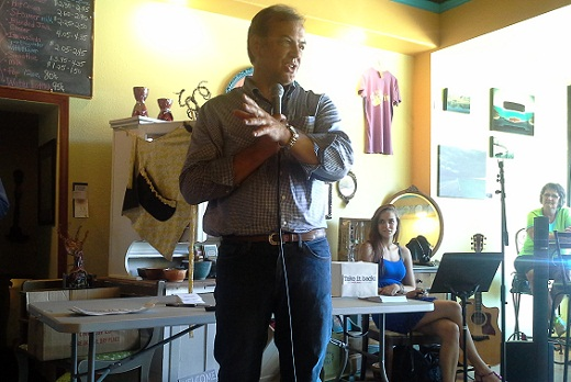 Rick Weiland addresses voters at a campaign stop in Madison, South Dakota, July 16, 2013.