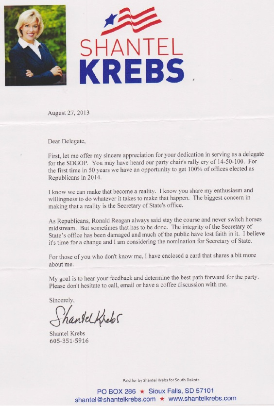 Letter from Sen. Shantel Krebs to South Dakota Republican delegates, 2013.08.27