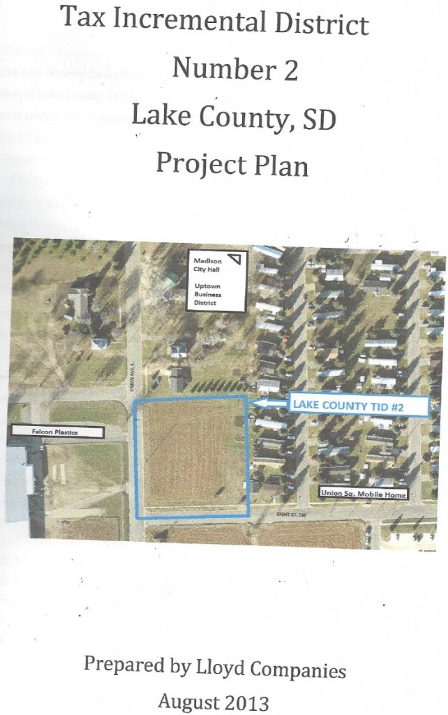 Tax Increment District 2 proposal draft, cover, showing location of proposed TIF district, Lloyd COmpanies, August 2013