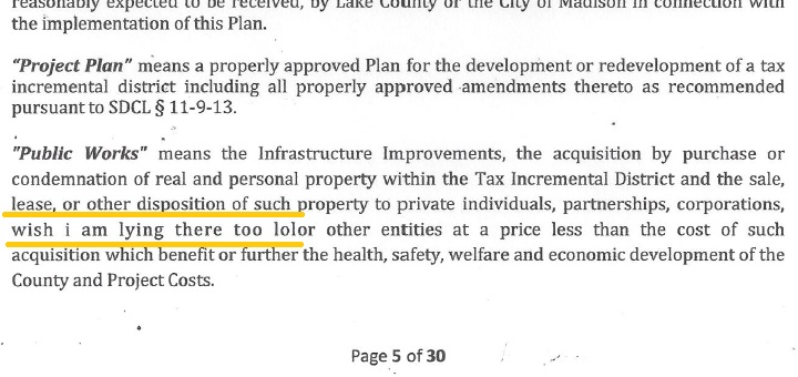 "Excerpt from ""Tax Incremental District #2, Lake County, SD, Project Plan,"" Lloyd Companies, August 2013. Error highlighted by CAH"