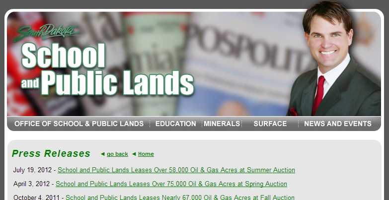 School and Public Lands news webpage, screen cap, 2013.10.03