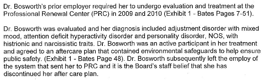 excerpt, South Dakota Board of Medical and Osteopathic Examiners, May 7, 2012