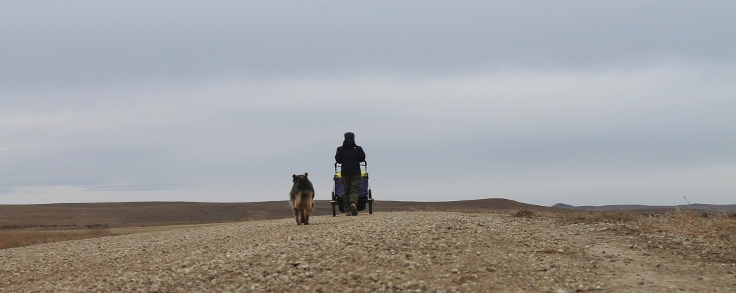 Rebecca Jane Rodriguez and companion, heading to Alberta on the Keystone XL route, Harding County, South Dakota, October 30, 2013. Photo credit: Bret Clanton