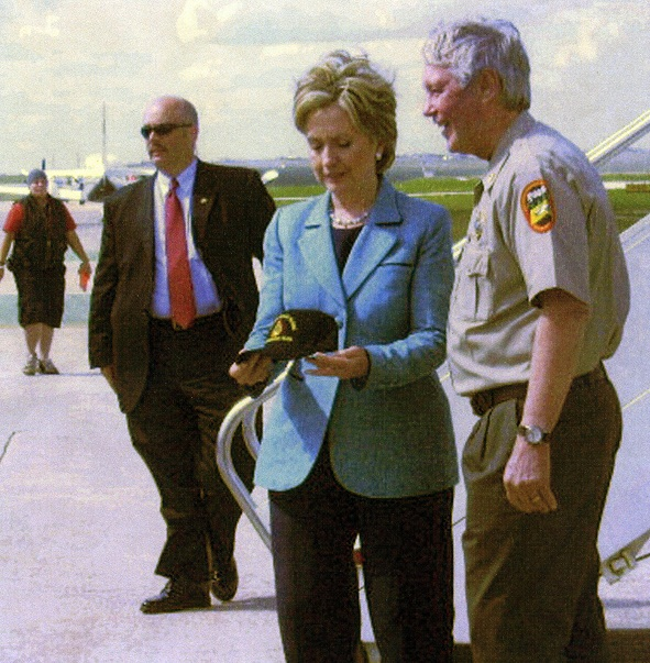 Joe Lowe talks fire prevention with then-Presidential candidate Hillary Clinton in 2008