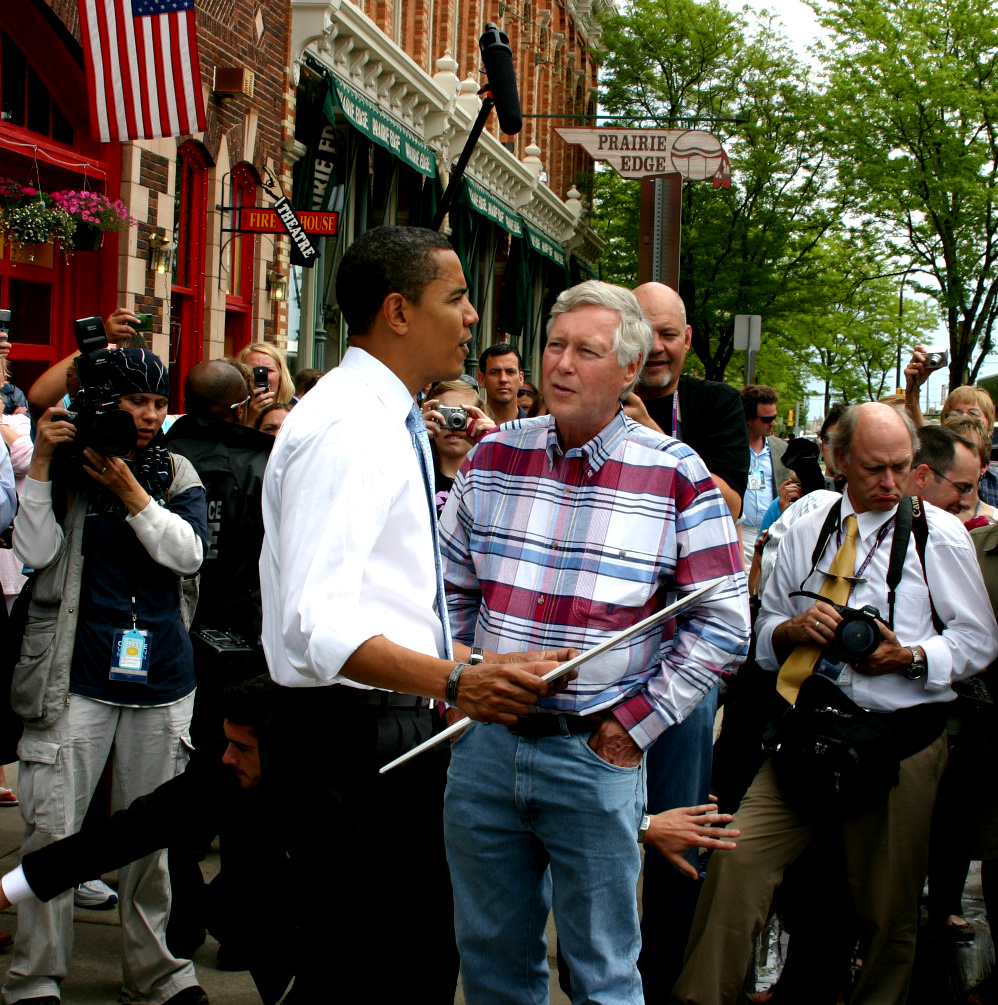 Joe Lowe talks Native American policy with then-Presidential candidate Barack Obama in Rapid City in 2008.