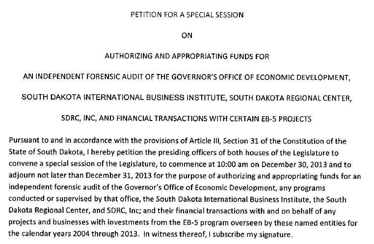 Text of Rep. Kathy Tyler's petition for a special session of the South Dakota Legislature, published December 2, 2013.