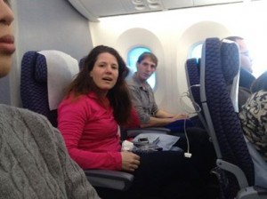 Annette Bosworth on flight to Tokyo, posted on campaign Facebook page, 2014.01.06