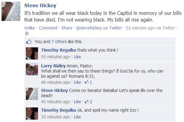 Rep. Rev. Steve Hickey, Facebook screen cap, 2014.02.25